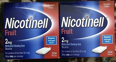 2 X Nicotinell gum 2mg, 2 Pack Of 204X2=408 pieces, fruit flavour. Limited 25%of
