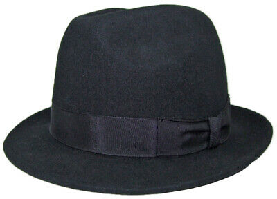 Classic Costume Hat with Fabric Band Black Wool Ladies Men's Hat
