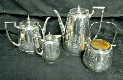 Large Ornate Victorian Silver Plated Tea Set - Four Piece Engraved Decoration