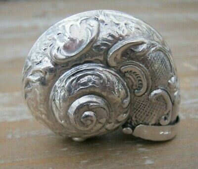 Beautiful Hallmarked Sterling Silver Nautilus Conch Shell Vesta Case / Snuff Box