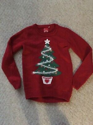 TU girls Christmas red sparkly christmas tree 🎄 jumper age 11 years 146cm perfe