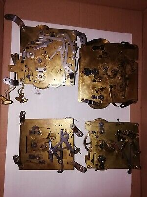4 antique clock movements for practice two Westminster two chiming two working