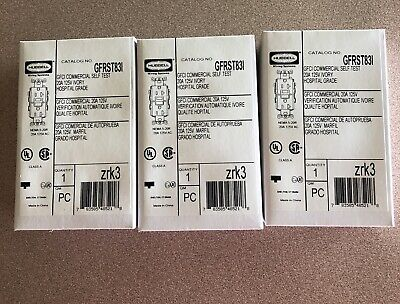 HUBBELL GFRST83I GFCI Receptacle,20A,125VAC,5-20R,Ivory NEW (Lot Of 3)