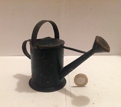 Folk Art Rare Miniature Tin Watering Can With Original Green Paint Finish