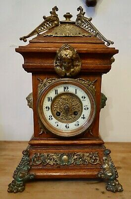 Victorian Dutch Wood And Brass Chiming Mantel / Mantle Clock