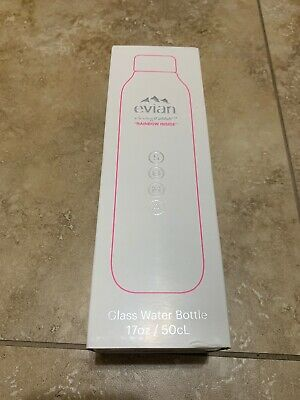 EVIAN BY VIRGIL ABLOH x SOMA Rainbow Inside Refillable Glass Water Bottle WhitePink