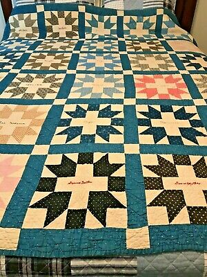 """FRIENDSHIP"" QUILT MADE IN 1915 Antique Quilt Hand Stitched 64""x76"""
