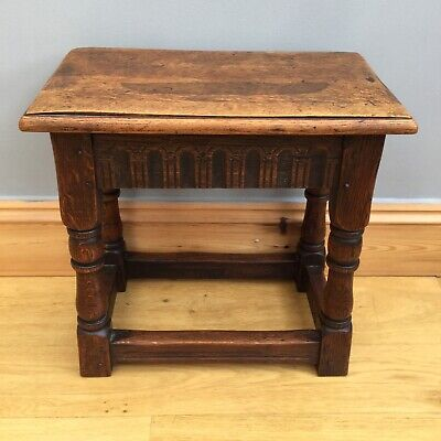 Antique Victorian Oak Jointed Stool Turned Legs Occasional Table Old Lamp Stand