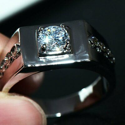 Mens Jewelry Ring White Gold Filled CZ Crystal Man Ring Jewelry Fashion Size 7