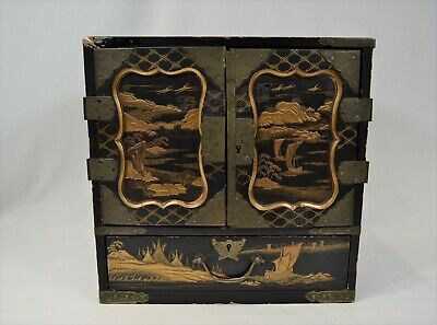 Antique Japanese Lacquered Tabletop Cabinet With Drawers