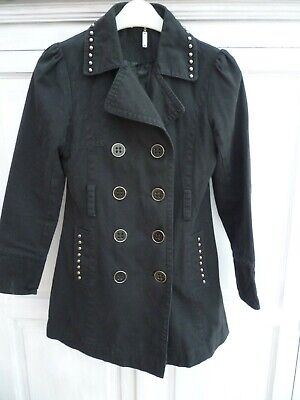 Girls Age 12 - 13 Years Sophie Black Military Double Breasted Studded Pea Coat