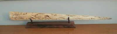 HUGE Hand Carved Swordfish Rostrum Bone Bill Chinese Dragon Upon Wooden Stand