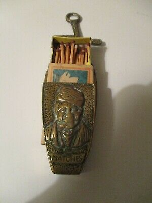 Antique Matchbox Holder Striker Dutch Scene Man Solid Brass Wall Hanging