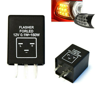 3-Pin EP28 Electronic LED Flasher Relay Fix Turn Signal Bulbs Hyper Flash Issu+v