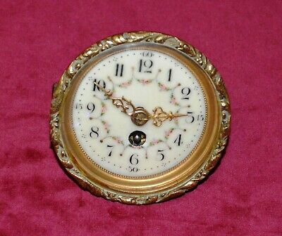 Antique Miniature Brass Clock Movement with Porcelain Dial Spares or repairs