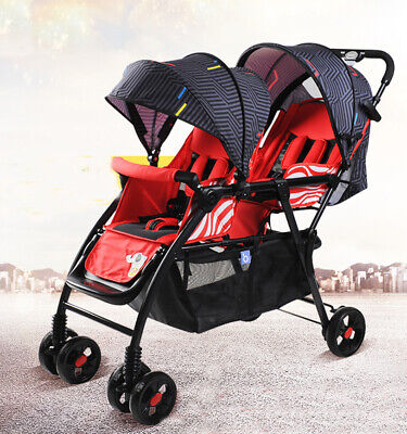 Foldable Twin Baby Trolley Infant Pram Double Stroller Tandem Jogger Pushchair