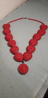 Chinese Cinnabar Style Red Pendant Necklace Fish in Heart Shape Beads