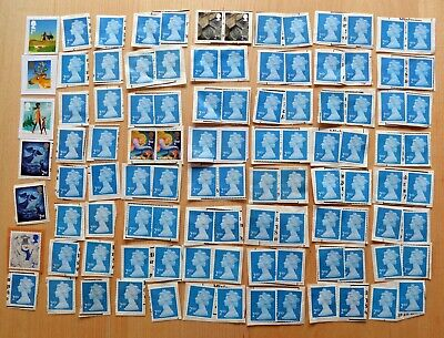 100 x 2nd class stamps, un-franked and un-soaked, various types