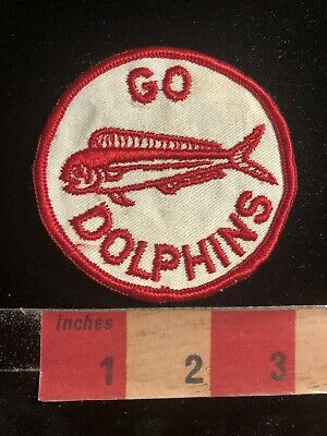 Vintage Red On White GO DOLPHINS Patch 99QQ