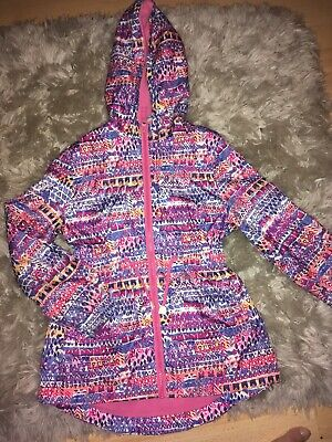 George Clothing Girls Age 8 Winter Hooded Coat. Pink Patterned. Fleece Inside