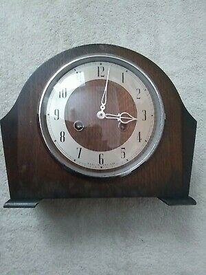 Smith's Wooden 8  Day Strike Mantle Clock In Excellent Working Condition