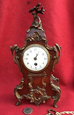 Small Antique French Mantle Clock Ormolu Mounts & faux shell c1880 a/f