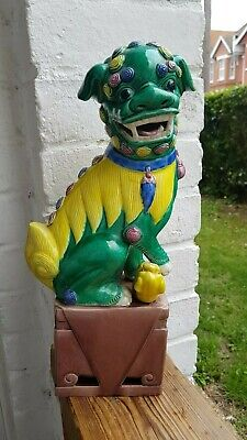 Vintage Chinese Porcelain Green and Yellow Foo Dog Statue/ Figurine