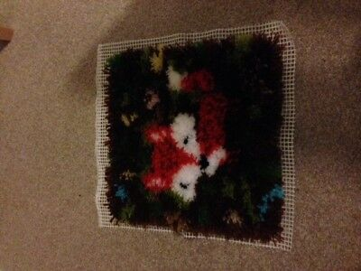 Completed latch hook cushion cover (Fox)
