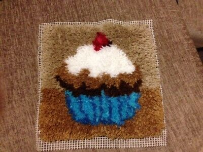 Completed Latch hook cushion cover (Cupcake)