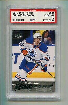 2015-16 UPPER DECK SERIES 1 CONNOR McDAVID #201 YOUNG GUNS RC ROOKIE PSA 10 B
