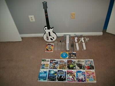 Nintendo Wii White Wii Sports Console (NTSC) w/ Wii Sports, Guitar, & 15 Games !
