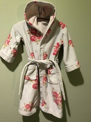 Hooded Towelling Dressing Gown. Rose Print Cotton Age 5-6. Little White Company