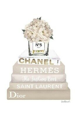 Coco Chanel Perfume Bottle And Stack Of Books Print Wall Art