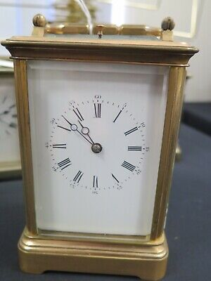 Antique Fine Quality Repeating Brass Carriage Clock By Charles Vincenti Of Paris