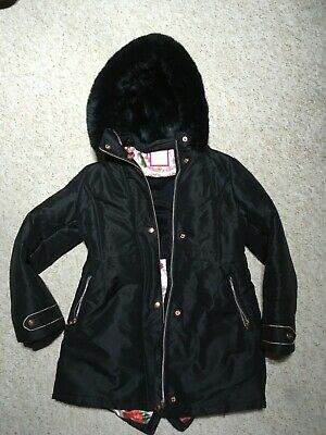 Ted Baker Girls fur hooded parka coat jacket age 12 perfect condition