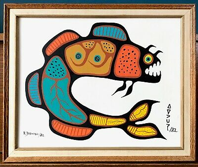 Richard Bedwash Spirit Fish Acrylic On Canvas 1982 First Nations