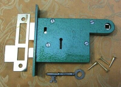 Old Antique Vintage Victorian Brass & Steel Horizontal Mortice Lock with 1 Key