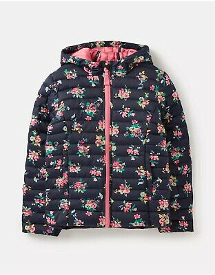 Joules Girls Kinnaird Print Padded Packable Coat Navy Ditsy Floral Age 7-8 Bnwt