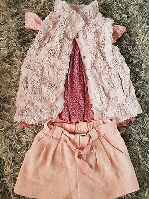 Girls outfit Gillet Shorts Top Next Age 6