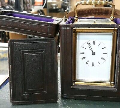 Stunning Victorian Gorge Case Repeater Carriage Clock With Original Leather Case