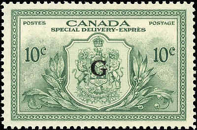 Canada Mint NH 1950 VF 10c Overprinted G Scott #EO2 Special Del. Stamp