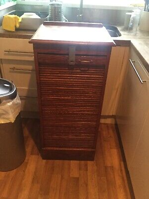 Edwardian tambour front oak office filing cabinet