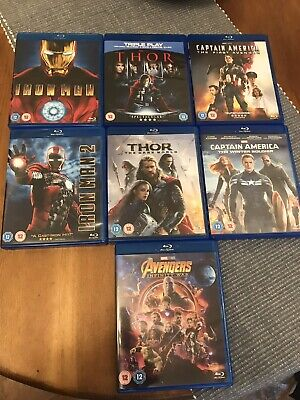 Iron Man Thor Captain America Avenger 7 Blu Ray Collection Dvds