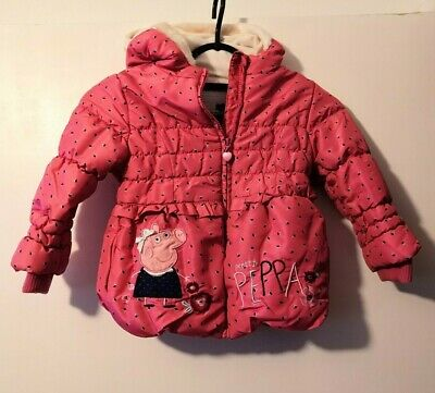 GEORGE PEPPA PIG Girls pink warm winter coat with fleece lining 2-3 years