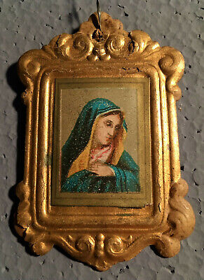 Antique Dresden VIRGIN MARY in a Frame German Christmas Ornament  Mother Mary