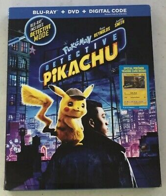 Detective Pikachu Pokémon (Blu-Ray + DVD, 2019) -Like New *Free Shipping*