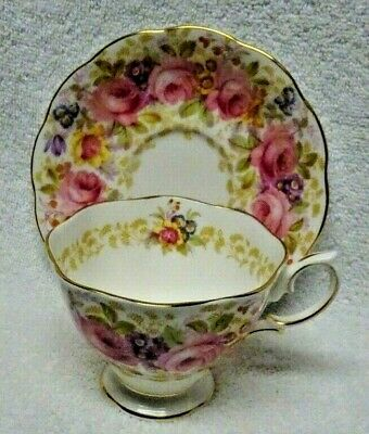 Royal Albert Serena Pink Roses Pastel Flowers  Cup and Saucer