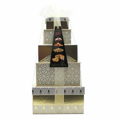 Festive Tower Of Treats Hamper In Gold Xmas Gift Christmas