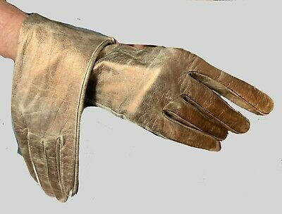 Fun classic Muted Distressed Gold Leather  gloves Italy 7-1/2  Lined