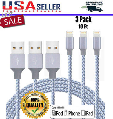 3Pack 10Ft Lightning Cable For iPhone 8 7 6Plus Heavy Duty Charger Charging Cord